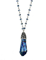 Women's Pendant Necklaces Sapphire Topaz Crystal Alloy Euramerican Dark Blue Yellow Jewelry Birthday Daily 1pc