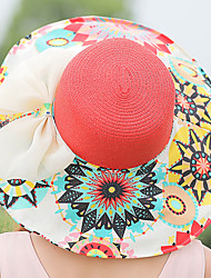 Women Summer Sun Folded Beach Hollow Woven Flower Printing Bow Straw Hat
