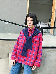 Spring 2017 Women Korean scarf shawl false two long-sleeved plaid shirt female students loaded Sign