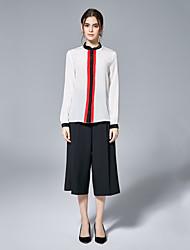 Camisa Social Trabalho Simples Primavera Verão,Sólido Vermelho Branco Preto Seda Decote Redondo Manga Longa