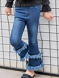 Girl's Fashion Going out Casual/Daily Holiday Spring/Fall Cotton Children Retro Tights Elasticity Pants Tassels Bell-bottoms Jeans