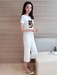 unterzeichnen neue Art und Weise Anzug weibliche kurzärmeliges Rundhals Pullover + neun breite Beinhosen zweiteilige Anzug
