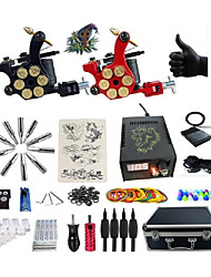 Complete Tattoo Kit G2R3R7 2 rotary machines liner & shader Lion LED power supply Ink Cups