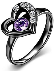 Ring Stainless Steel Zircon Cubic Zirconia Titanium Steel Heart Cut Fashion Gold Matt black Jewelry Party Daily 1pc