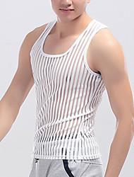 Hombre Sexy Simple Activo Noche Casual/Diario Deportes Primavera Verano Tank Tops,Escote Cuadrado Un Color Sin Mangas PoliésterBlanco