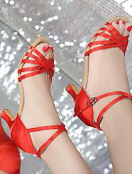 Women's Latin Satin Leatherette Sandals Heels Indoor Performance Practice Beginner Professional Buckle Ribbon Tie Cuban HeelBrown Ruby