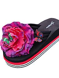 Women's Slippers & Flip-Flops Summer PU Outdoor Casual Flat Heel Flower White Black Yellow Fuchsia