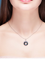 Pendant Necklaces Crystal Crystal Round Basic Dangling Style Dark Blue Jewelry Daily Casual 1pc