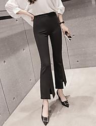 Korea slashed Micro flared trousers pantyhose child was thin waist Slim black wide leg slacks