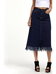Women's Plus Size Bodycon Solid Denim Skirts,Casual/Daily Street chic Mid Rise Midi Zipper Button Cotton Micro-elastic Spring Fall