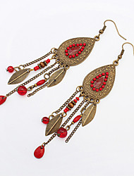 European and American fashion earrings beads retro Tassel Earrings oval leaves 0436#
