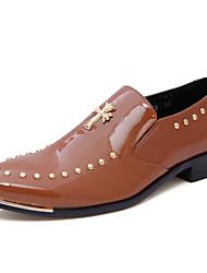 Men's Oxfords Fall Winter Comfort PU Casual Flat Heel Beading Black Blue Brown Red