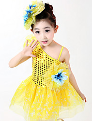 Latin Dance Dress For Girls Children's Performance Polyester Sequins Splicing 2 Pieces Sleeveless High Ballet Dress Headpieces Fuchsia/Yellow/Blue