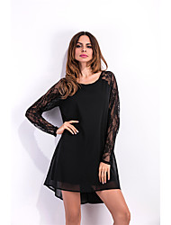 Sign outer mold Europe lace raglan sleeve long-sleeved chiffon dress dovetail
