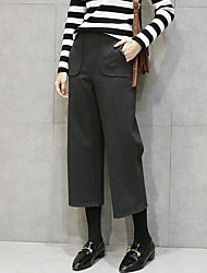 Woolen wide leg pants female autumn and winter thickening pantyhose Korean version of casual trousers loose waist was thin seven straight jeans