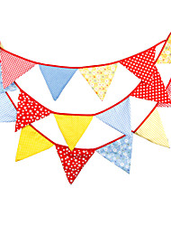 4.1m 18 Flags Multicolor Banner Pennant Cotton Bunting Banner Booth Props Photobooth Birthday Wedding Party Decoration