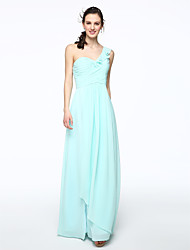 2017 Lanting Bride® Floor-length Chiffon Furcal Bridesmaid Dress - A-line One Shoulder with Pleats