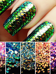 1set Colorful Shining Scales Nail Sequins Glitter Tips Manicure Nail Art Decoration