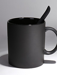 1PC European high-grade ceramic black matte large capacity Mark cup creative simple coffee cup with spoon cup Scrub
