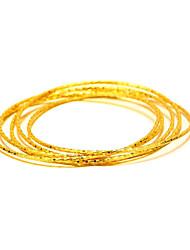 Bracelets Rigides Cuivre Plaqué or 24K Plated Gold Naturel Mode Vintage Forme Ronde Or Bijoux 1pc
