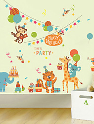Wall Stickers Wall Decals Style Cute Cartoon Elephant Animal Park PVC Wall Stickers