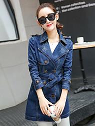 Sign Spring 2017 new Slim denim waist coat jacket Girls long paragraph long-sleeved denim clothing