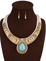 Jewelry 1 Necklace 1 Pair of Earrings Wedding Party Daily Alloy 1set Women Gold Wedding Gifts