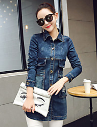 Sign student spring Korean long section printing casual denim jacket female long-sleeved shirt tide