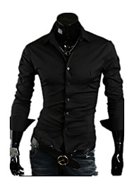 Men's Personality Pure Color Business Casual Long-Sleeved Shirt
