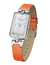 Women's Fashion Watch Quartz Genuine Leather Band Orange Brand