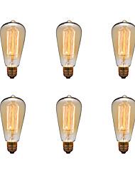 6pcs/lot ST64 E27 40W Edison Bulb Vintage Retro Lamp Incandescent Light Bulb (220-240V)