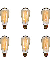 6pcs / lot ST64 e27 40w edison lâmpada lâmpada retro luz incandescente lâmpada do vintage (220-240V)