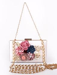 Women PU Poly urethane Formal Event/Party Wedding Evening Bag/Flower Handbag/White Black Beige Red Peach