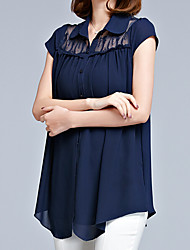 Women's Plus Size Casual/Daily Work Vintage Simple Sophisticated Summer Blouse,Solid Shirt Collar Short Sleeve Blue Red Black Polyester