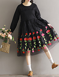Sign Spot new 2017 / stitching embroidered long-sleeved dress