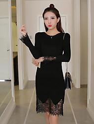 nouvelles sections korean mince bas rond pull col roulé de couverture et longues 2017 ressort talonnage robe en dentelle