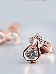 Sans pierre Boucles d'oreille goujon Bijoux Soirée Quotidien Décontracté Argent sterling 1 paire Argent Or Rose