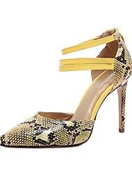 Women's Stiletto Heels/Fashion Dress/Snakeskin Pattern/Club Shoes/Popular/Casual/Yellow/Red