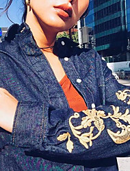 Spot 2017 spring models Korean version of the gold embroidery hand sleeve denim shirt jacket coat female personality tide