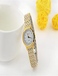 Paar Modeuhr Quartz Legierung Band Bequem Weiß Gold Gold Weiß