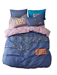 Novelty Duvet Cover Sets 4 Piece Miusic Style Polyester Pattern Reactive Print Polyester Queen 4pcs (1 Duvet Cover 1 Flat Sheet 2 Shams)