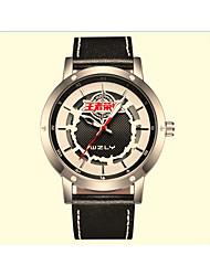 Unisex Skeleton Watch Quartz Leather Band Black