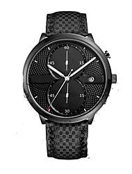 Men's Dress Watch Quartz Leather Band Black Brand