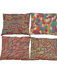Set of 4 Floral  pattern Linen Pillowcase Sofa Home Decor Cushion Cover