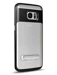 Para Com Suporte Translúcido Capinha Capa Traseira Capinha Cor Única Rígida PC para Samsung S7 edge S7 S6 edge plus S6 edge S6
