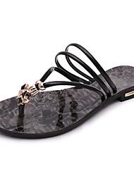 Damen-Sandalen-Kleid Lässig-PU-Flacher Absatz-Komfort-Weiß Schwarz