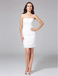 LAN TING BRIDE Sheath / Column Wedding Dress - Chic & Modern Little White Dress Knee-length V-neck Lace with Lace