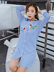 Sign 2017 spring new Korean long-sleeved sequined embroidery bird loose long section of female striped shirt