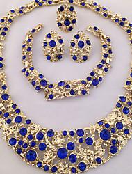 Set de Bijoux Colliers Déclaration Bracelet Boucles d'Oreille Bague Original Mode Personnalisé Afrique Cristal Strass Blanc Bleu1 Collier
