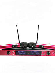 microfone sem fio UHF metal com 100m ecrã distância de 2 canais de microfone de mão sem fio sistema de microfone de karaokê